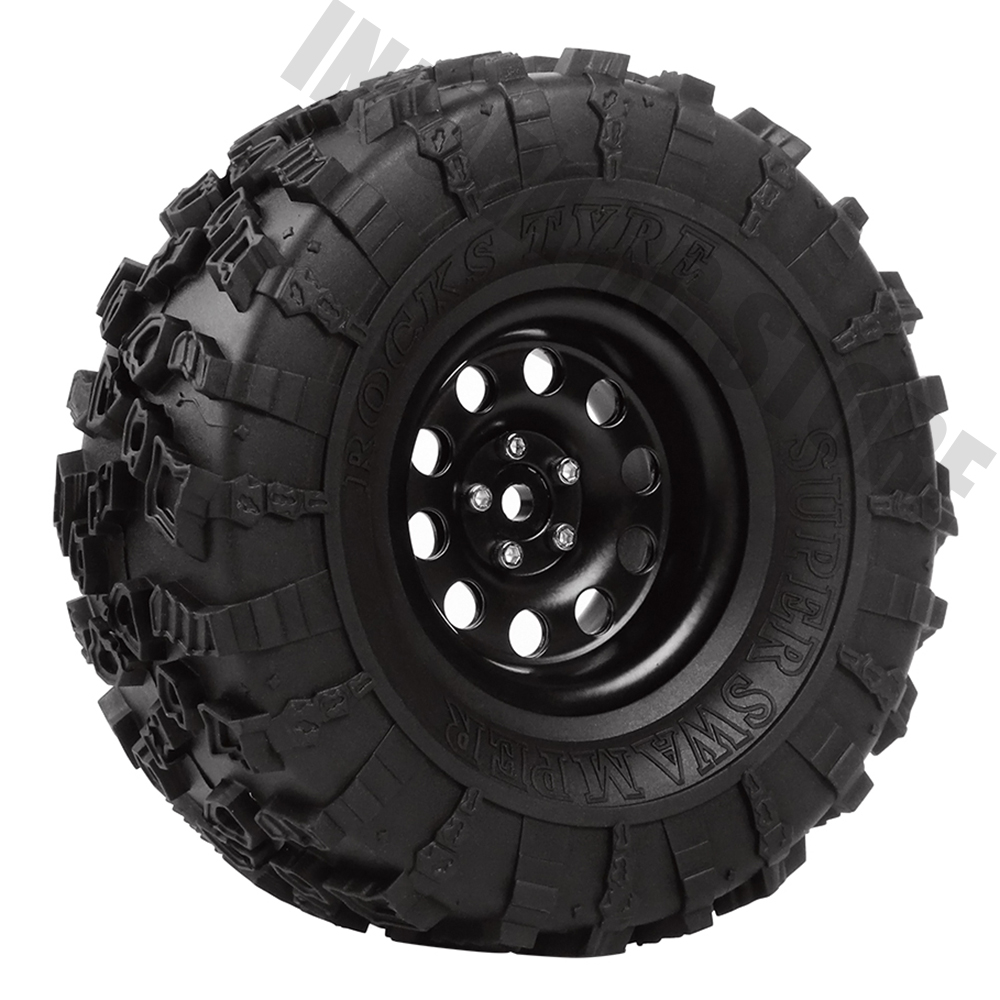4Pcs Metal 2 2 Beadlock Rim Rubber Wheel Tires for 1 10 RC Rock Crawler Axial