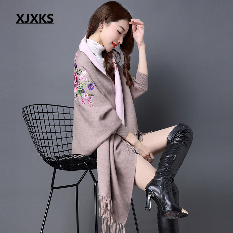 XJXKS Long section of the women cashmere sweater new autumn and winter cashmere embroidery cardigan swing