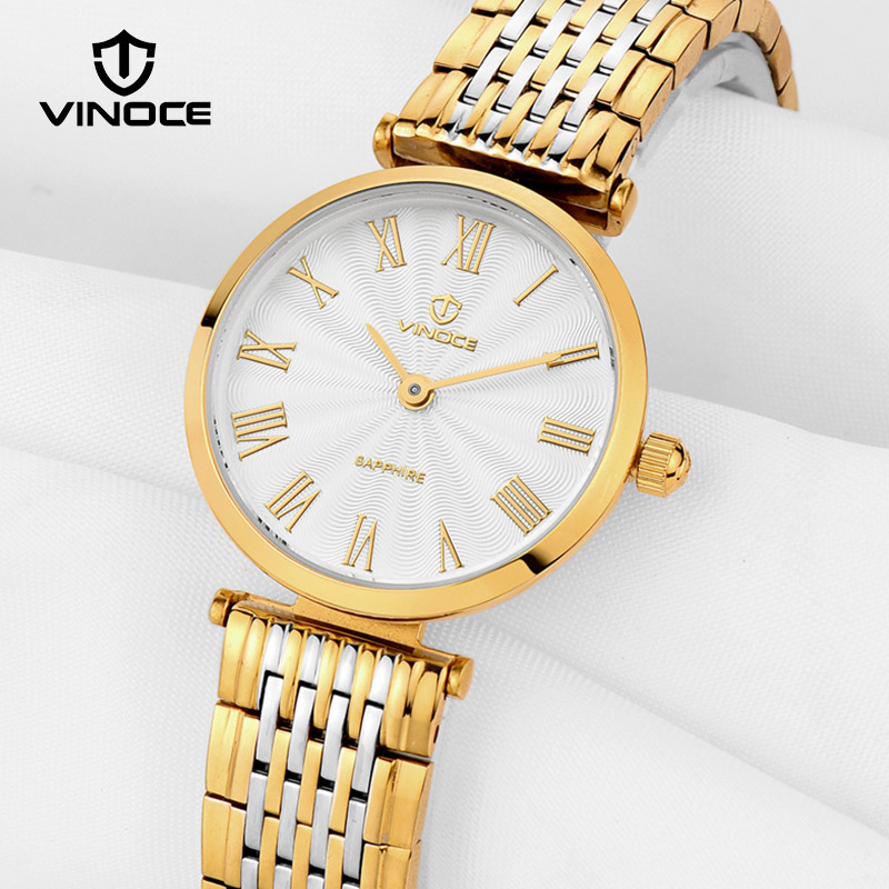 VINOCE Luxury Gold Women Bracelet Watches Stainless Steel Ladies Quartz Watch Ultra Thin Dial Relogio Feminino 2018 Clock #8369 julius women quartz clock watches stainless steel mesh belt ladies bracelet wrist watch thin dial female watch relogio feminino
