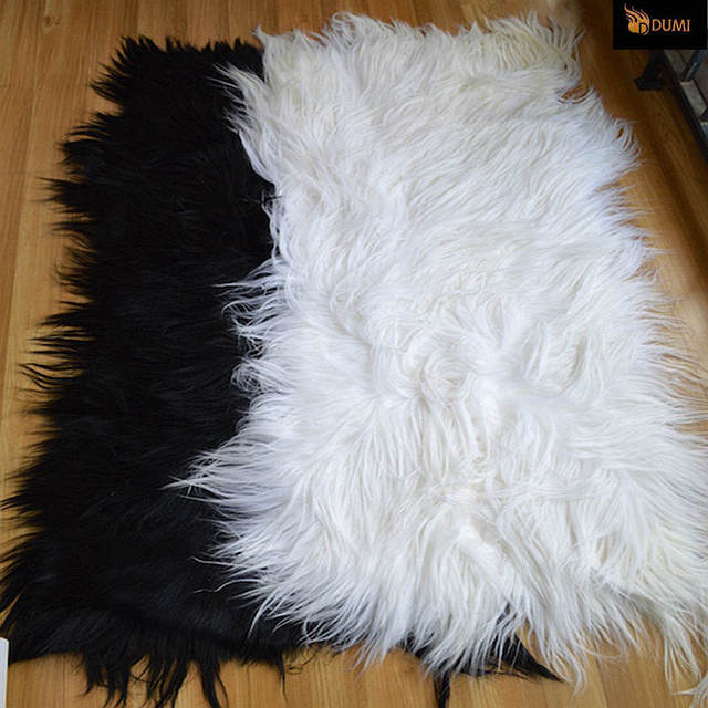 1 Piece Free Shipping 110x55cm White Black Real Long Fur Mongolian And Tibet Home Floor