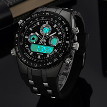 Sports Watches for Men Dual Movement Large Dial Multiple Time Zone Calendar Week Display Waterproof Silicone Strap Wrist Watches read brand tops 2017 multifunction full steel second hand watches for men sapphire crystal multiple time zone calendar 8083gq