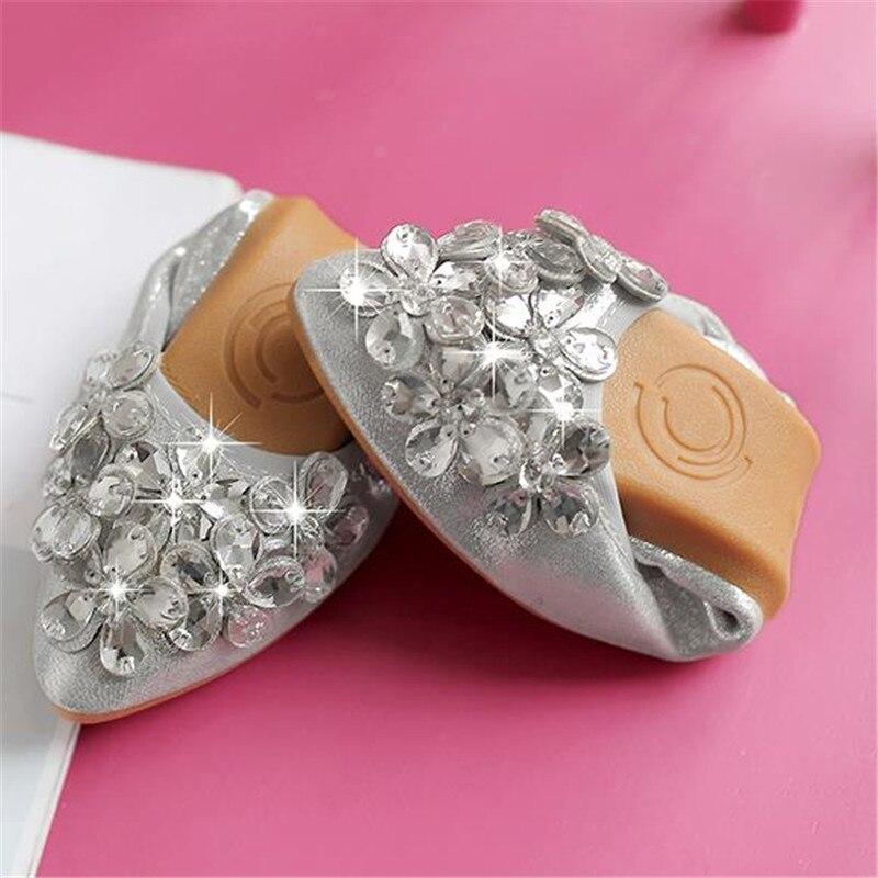 Del Primavera Otoño Más 45 Zapatos Mujeres Boca Suave Pie Dedo De gris Plano Baja Oro Las Fondo Puntiagudo Tamaño 33 Rhinestone Solos 20167 Y twFCYq5x
