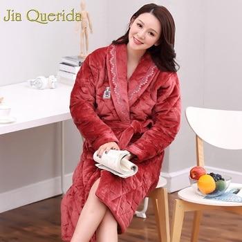 J&Q Women's Bathrobe Pijama Mujer Plus Size Robe Feminino Batas De Mujer Terry Bathrobe Szlafrok Damski Women Sleepwear Robes