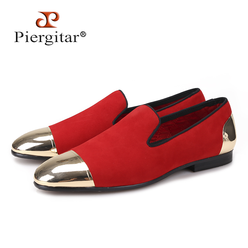 Piergitar new Red color velvet Handmade men shoes with Gold toe and back metal Fashion Party and Banquet loafers male's flats igora page 4