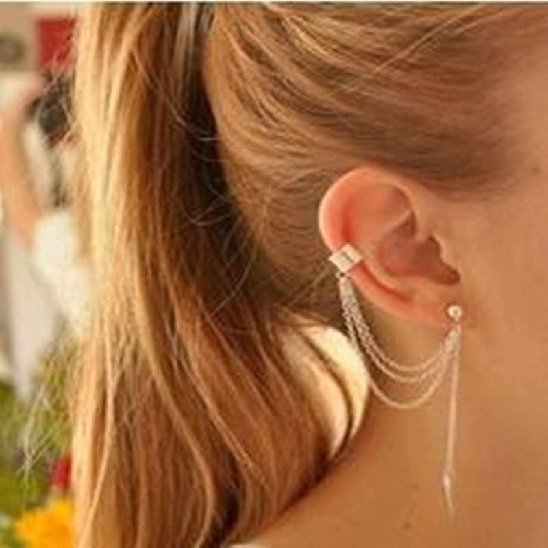 (1 CÁI) 2017 thương mại nước ngoài mới trang sức kim loại lá cá tính hoang dã tassel ear tai clip nữ Đồ Trang Sức Thời Trang trung quốc