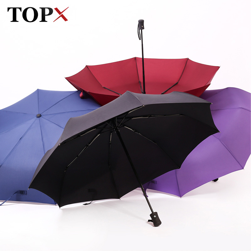 New Full Automatic Umbrella Rain Women Men 3Folding Light and Durable 386g 8K Strong Umbrellas Kids Rainy Sunny Wholesale Price