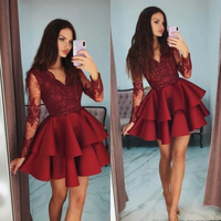 Lakeydra Burgundy Lace Cocktail Dresses V Neck Illusion Long Sleeve Bead Tiered Plus Size Short Mini Prom Gowns Robe De Soiree