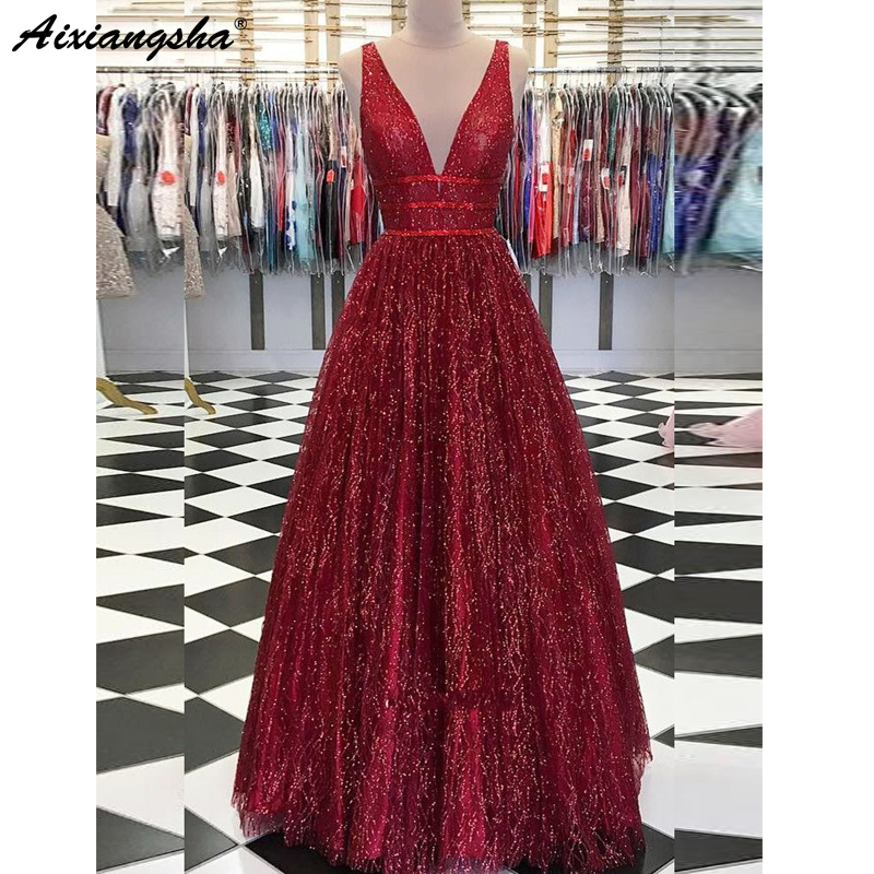 Sparkly Ball Gown Long Prom Dresses 2019 V Neck Open Back Burgundy Sequins Evening Party Dress Prom Gown