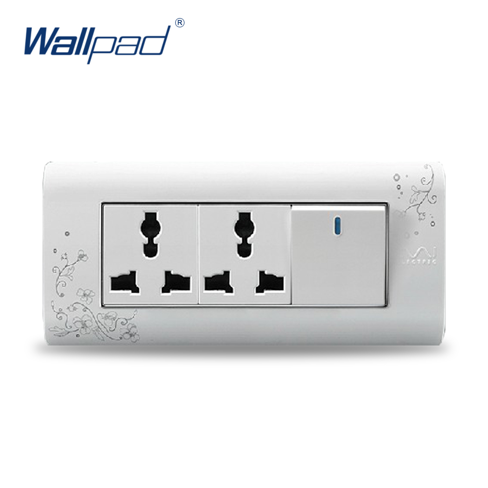 2017 Hot Sale 1 Gang 6 Pin Multifunction Socket  Wallpad Luxury Wall Switch Panel Plug Outlet 154*72mm 10A 110~250V  free shipping wallpad luxury wall switch panel 6 gang 2 way switch plug socket 197 72mm 10a 110 250v