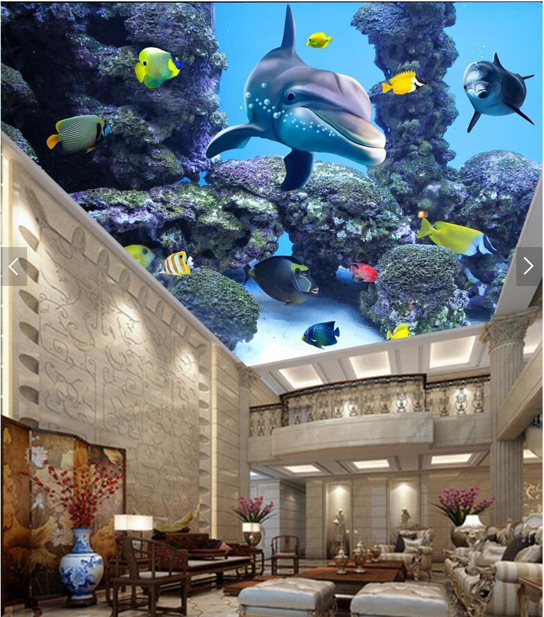 3d wallpaper custom photo non-woven mural The undersea world of fish room painting 3d wall murals wallpaper for walls 3 d custom photo 3d ceiling murals wall paper blue sky rose flower dove room decor painting 3d wall murals wallpaper for walls 3 d
