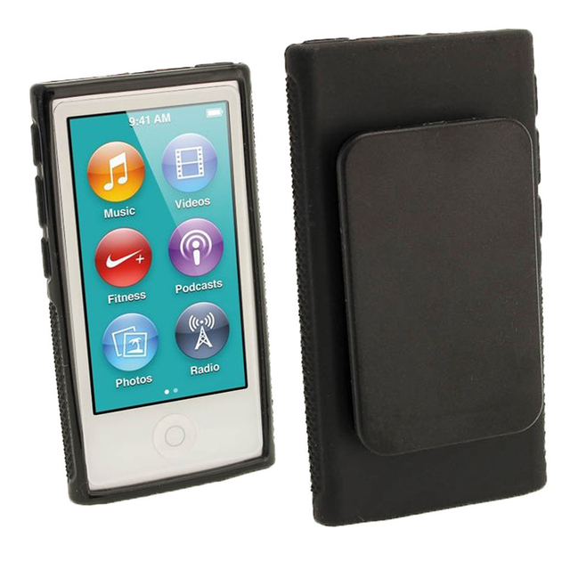 30pcs Hybrid TPU Silicone Case For Apple iPod Nano 7 protection cases 7th Generation Nano7 7G Cover Coques fundas with Belt Clip
