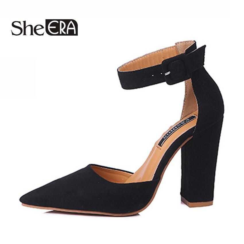 2018 Women High Heels Newest Summer Pumps 10cm Thick Heel Pointed toe Pumps  Comfortable Woman Platform Shoes