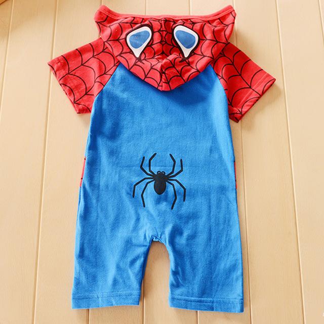 Bébé Garçons Spider Man Barboteuse Drôle Costume Manches Courtes