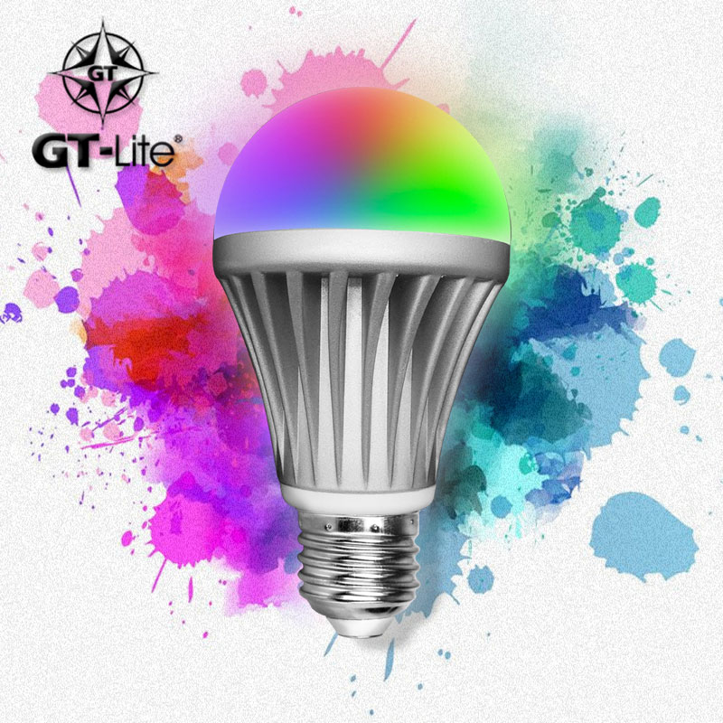 GT-Lite,Bluetooth Smart LED Light Bulb,Smartphone Controlled Dimmable Multicolored RGB,Work with iPhone, iPad, Android Phone wf820 e27 smart phone led wi fi controlled sunrise wake up multicolored color changing disco light sleeping dimmable