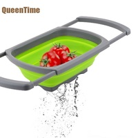 QueenTime Foldable Fruit Basket Silicone Colander Vegetable Container Filter Water Tools Adjustable Food Basket Kitchen Tools