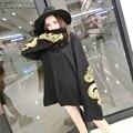 Harajuku Панк Готический Женщины Футболка Дракон Вышивка Casaual Свободные Длинным Рукавом Пуловер Костюм