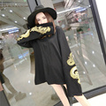 Harajuku Punk Gothic Women Sweatshirt Dragon Embroidery Casaual Loose Long Sleeve Pullover Tracksuit