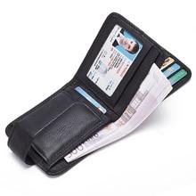 Мужской кошелек из натуральной кожи черного цвета в винтажном стиле с карманом для монет, Короткие Кошельки, маленький кошелек на молнии с держателями для карт, мужской кошелек