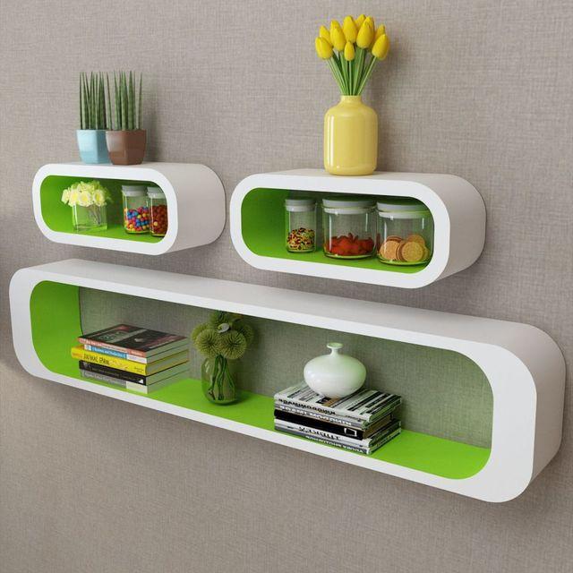 VidaXL 3 White Green MDF Floating Wall Display Shelf Cubes Book/DVD Storage