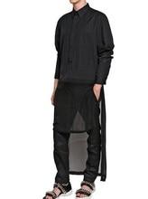 HOT 2016 New men black long sweep decoration black long-sleeve shirt top singer DJ Zhi- Long GD nightclub costumes clothing