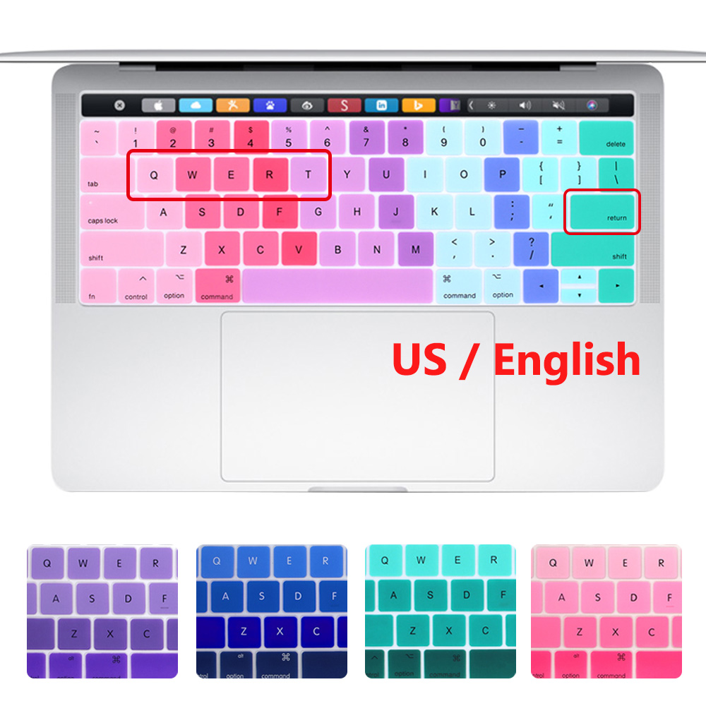 New US version Silicone Keyboard cover for 2018 Macbook Pro 13 15 with Touch bar A1706 A1707 A1989 A1990 2017 2018 Release russian layout keyboard cover for macbook pro 13 15 with touch bar silicone skin for new macbook 2016 a1706