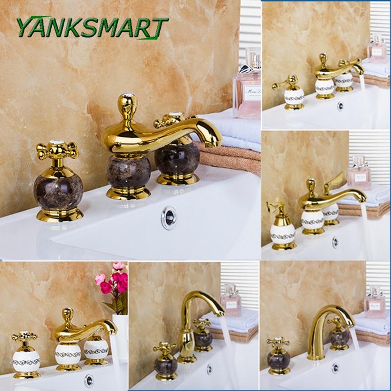 YANKSMART Luxury Deck Mounted Mixer Ceramic Gold Marble Taps Waterfall 3 Pieces Bathroom Bathtub Basin Sink