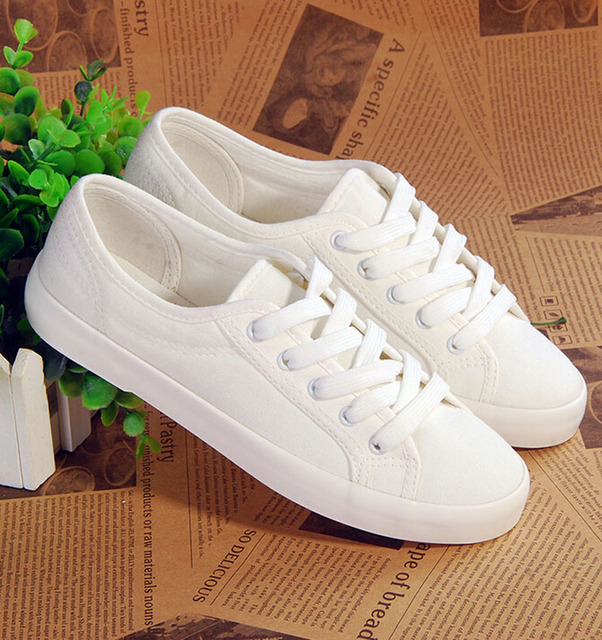 c6a710f879c Spring New canvas Shoes Woman Fashion Lace Up White Shoes Woman Flats For  Lady s Size 35