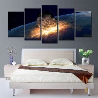 5 Panels Meteor Earth Wall Oil Painting Canvas Art Prints Wall Art Canvas Pictures For Living