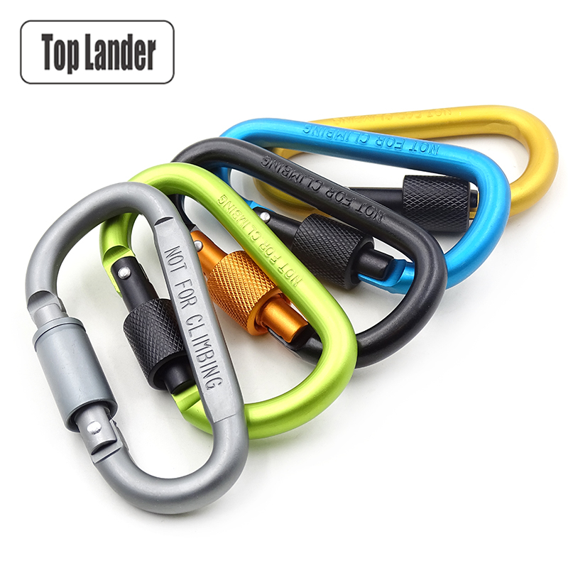 Carabiner Hook Clip Aluminum Carabiner Multitool Survival Climbing Carabiner Keychain Key D Shape Screw Lock Bottle Hook Hanging