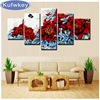 Rhinestone Painting Crystal Home Decor DIY Diamond Painting 5pcs Set Red Peony Flower 5D Cross Stitch