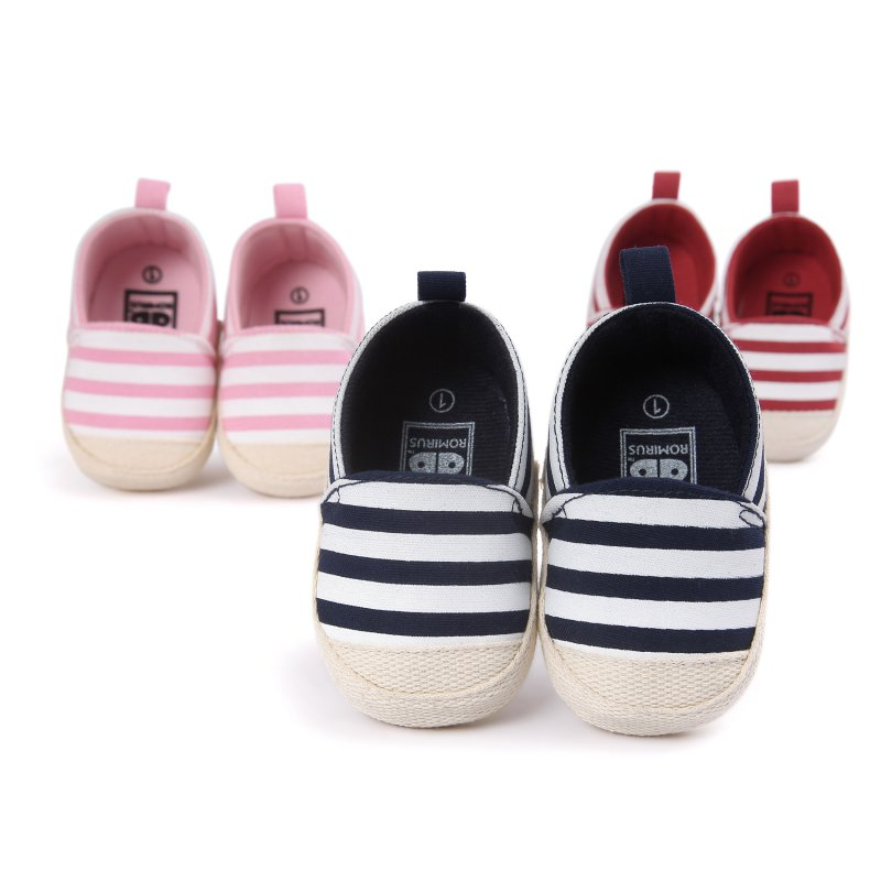 Купить с кэшбэком New Baby Toddler Shoes Striped First Walkers Canvas Soft Sole Infant Sneakers Anti-slip Newborn Baby Boys Girls Classic Shoes