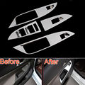 4PCS Inner Chrome Door Window Switch Lift Button Panel Control Cover Trim Sticker ABS Fit For Cruze 2015