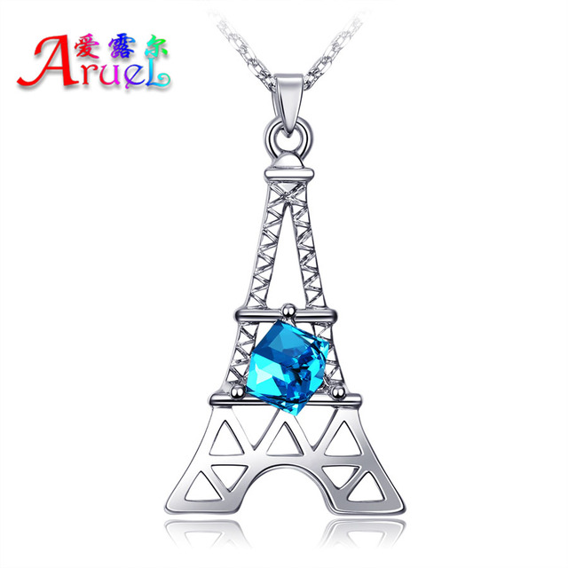 Paris torre romantic eiffel tower pendant necklace rose white gold paris torre romantic eiffel tower pendant necklace rose white gold color fashion austrian crystals necklaces for aloadofball Images