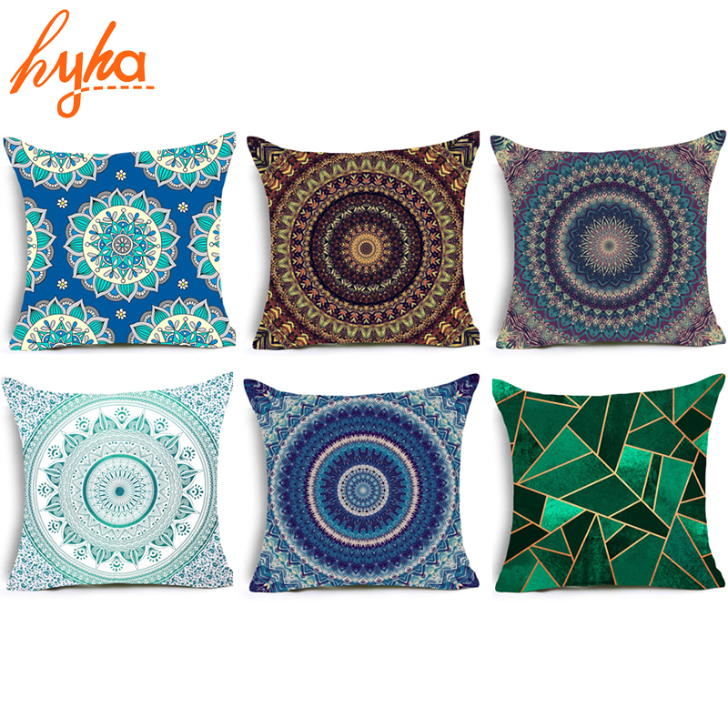 Hyha Hippie Mandala Polyester Cushion Cover Bohemian Indian Style ...