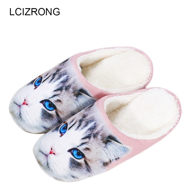 LCIZRONG 3D Cat Dog Slippers Women Cute Animals Fluffy Home Slippers Cartoon Lady Casual Slippers Flip Flop Zapatos Mujer Shoes