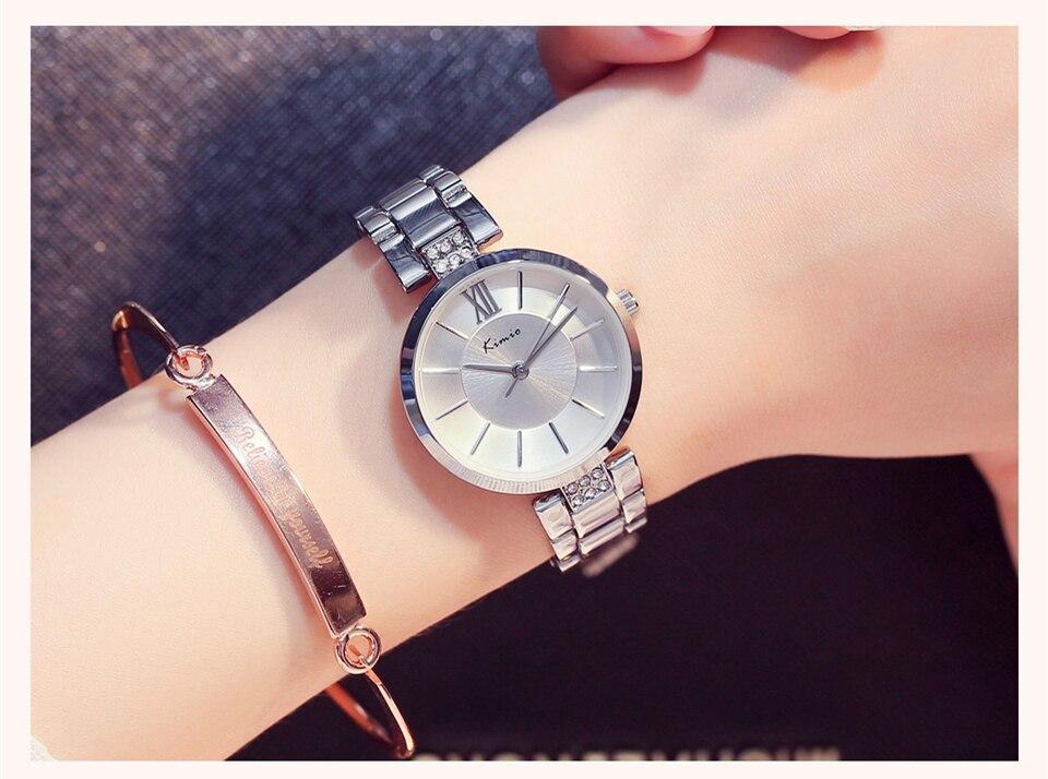KIMIO Thin Clock Women Fashion Simple Watches Rhinestones Dress Woman Watch Rose Gold Quartz Ladies Women's Watch Wristwatch 16