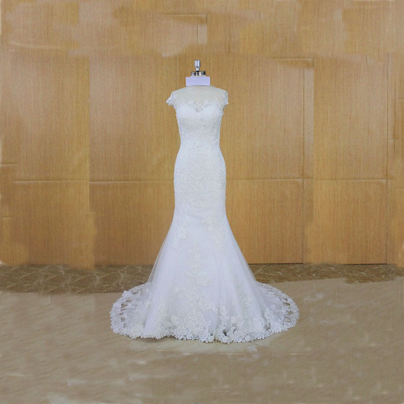 Super Elegant Short Sleeves Lace Mermaid Wedding Dress