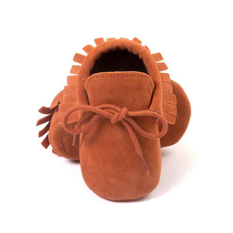 Bebé niño niña mocasines zapatos recién nacido flecos suave suela antideslizante calzado cuna zapatos PU gamuza primer caminador zapatos