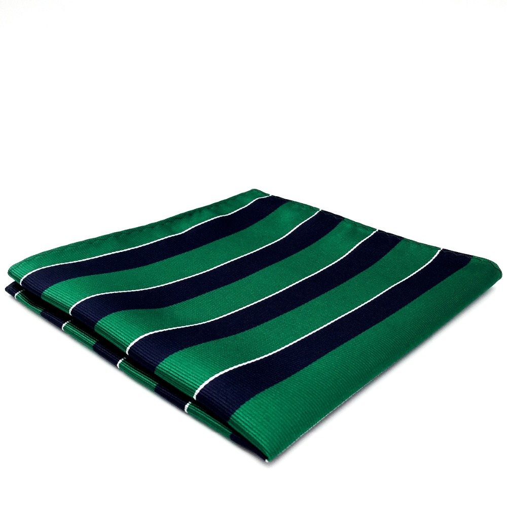 YH27 Blue Green Striped Pocket Square For Men Handkerchief Silk 12.6