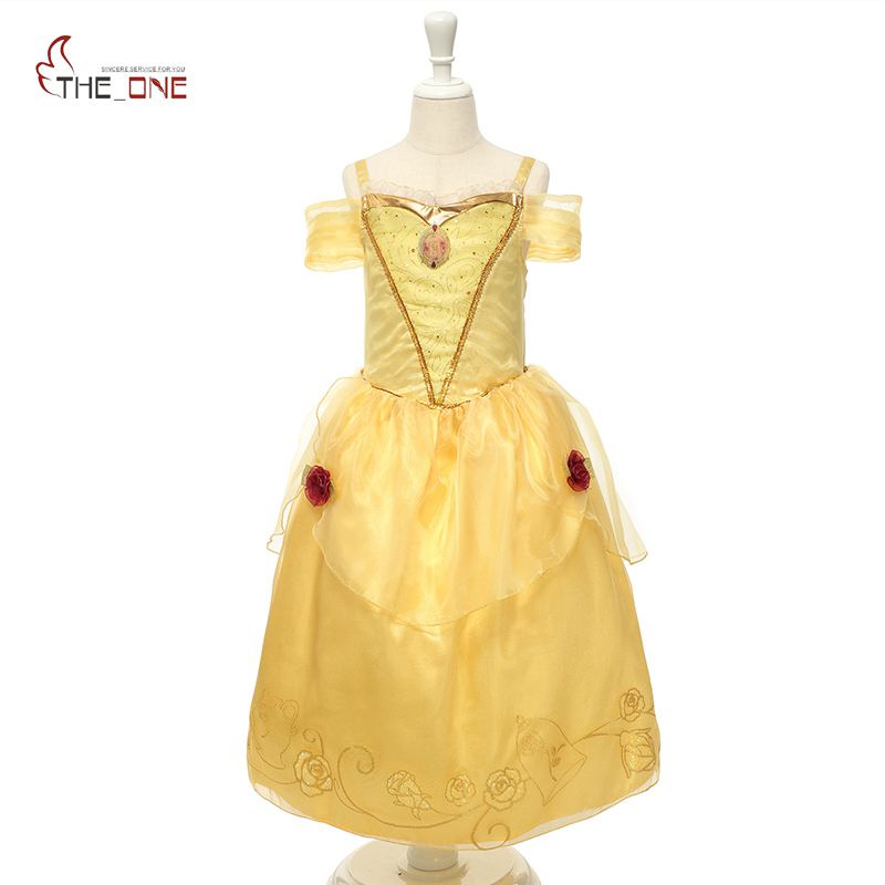 MUABABY Girl Princess Dress Children Belle Costume Deluxe Girl Off Shoulder Rose Flower Cosplay Party Dresses