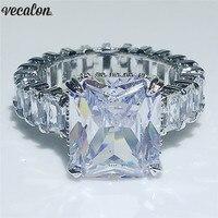 Vecalon Винтажное кольцо Принцесса 925 серебро 6ct кубический цирконий; для помолвки обручальные кольца для мужчин и женщин модные ювелирные изд