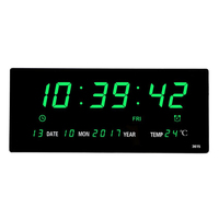 Livingroom 6 digits led calendar wall clock with thermometer Power off time memory clock big numbers plugin alarm clock
