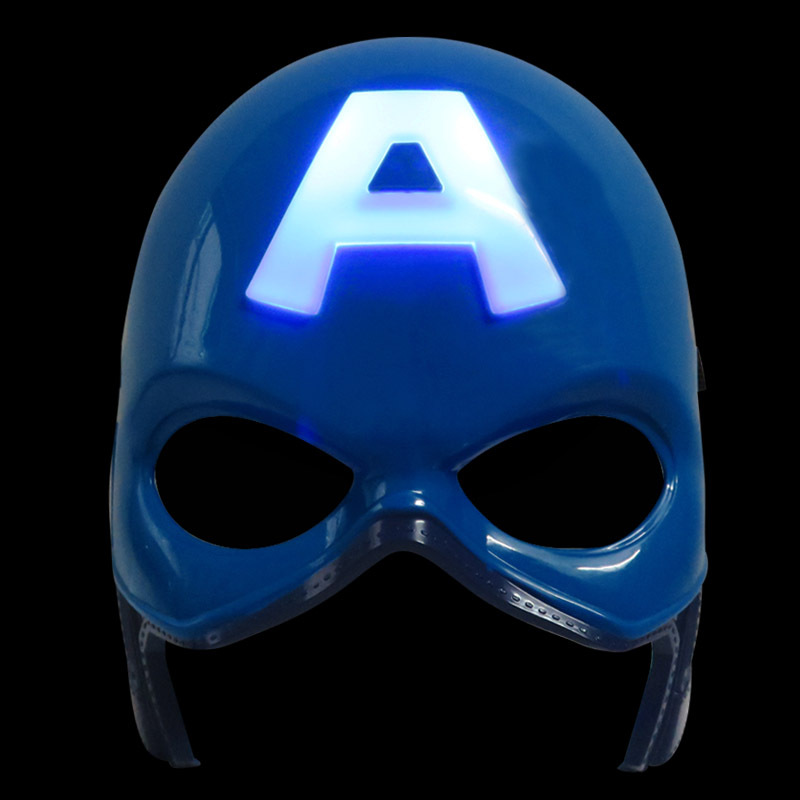 LED Head Mask Marvels The Avengers Super Heros American Captain Crazy Rubber Party Halloween Costume Mask Children Toy XD147