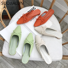 SUOJIALUN 2019 Summer New Women Mules Shoes Women Slides Ladies Slip On Outdoor Slippers Female Mules Flats Shoes Slides drop shipping women s slide on slip on mules loafer flats shoes rhinestone slides slippers new fashion woman mules flip flops