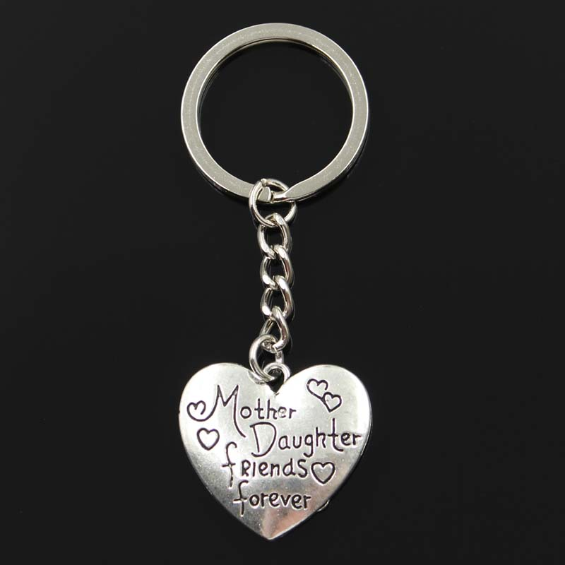 Fashion Keychain 28x30mm Heart Mother Daughter Friends Forever Pendants DIY Men Jewelry Car Key Chain Ring Souvenir For Gift