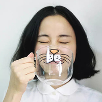 Cute Creative Cat Kitty Glass Mug Cup Tea Cup Milk Coffee Cup piggy nose red lips coffee mugs Home Office Cup cartoon drinkware