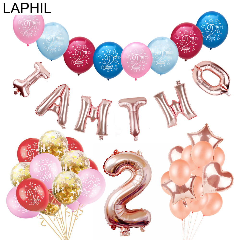LAPHIL 2nd Birthday Balloons Blue Pink Latex Boy Girl I AM TWO Happy Party Decorations Kids Favors Supplie
