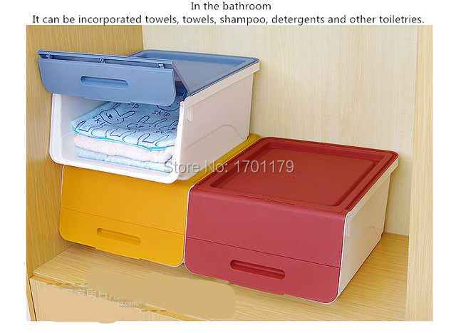 Japanese color clamshell large stackable storage box covered plastic storage box toys debris sorting boxes & Japanese color clamshell large stackable storage box covered plastic ...