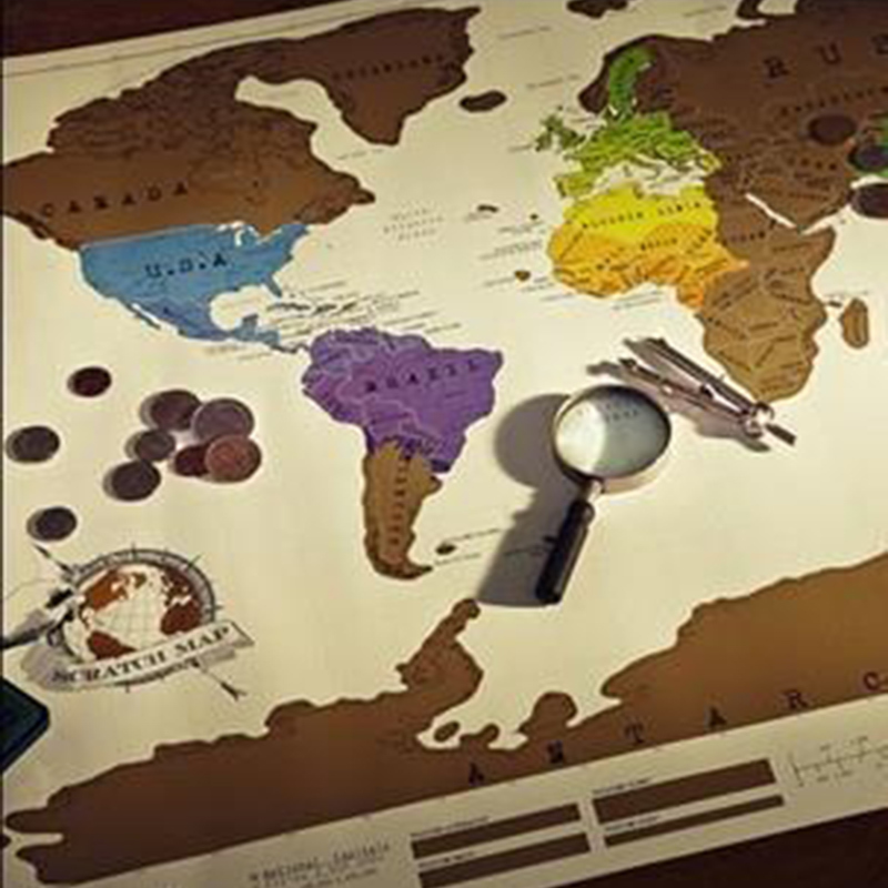 1 PCS Scratch OFF MAP Travel Scratch Map 88x52 Cm World Map Novelty Gift