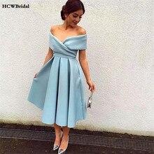 2019 mięta niebieskie krótkie suknie balowe Off The Shoulder linia kolano długość eleganckie kobiety suknie na przyjęcia weselne tanie okazje sukienka
